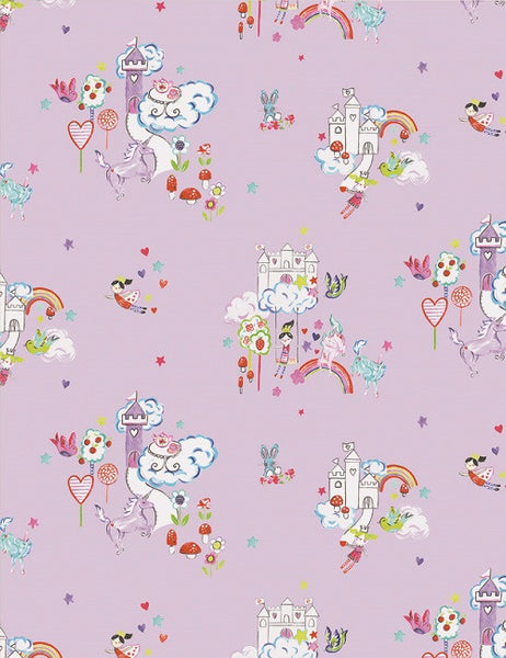 12219 Unicorn and Castles is a beautiful Pink Kids Wallpaper from Holden Decor