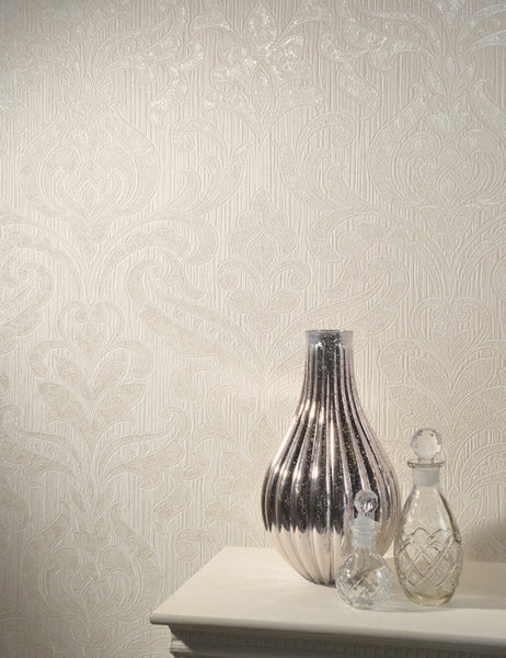 33990 Merlotto is a beautiful Cream Damask Vinyl Wallpaper from Holden Decor