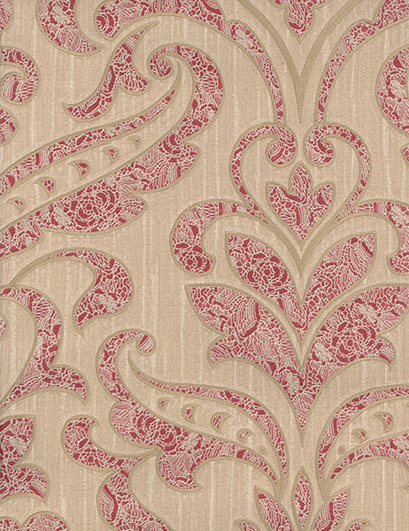33993 Merlotto is a beautiful Red / Gold Damask Vinyl Wallpaper from Holden Decor