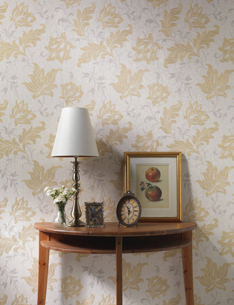 35100 Argentino is a beautiful Cream / Gold Floral Vinyl Wallpaper from Holden Decor