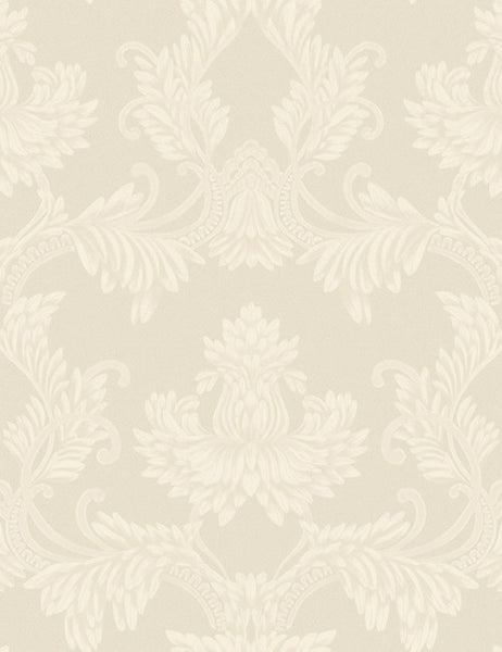 35280 Clara Pluma is a beautiful Cream Damask Vinyl Wallpaper from Holden Decor