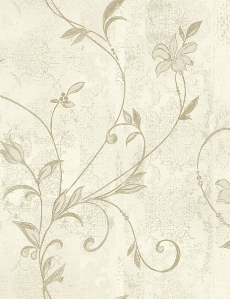 35320 Abelie is a beautiful Taupe / Cream Floral Vinyl Wallpaper from Holden Decor