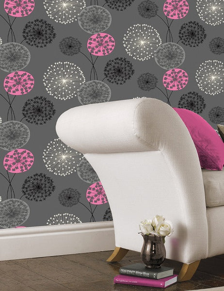 41100 Lucienne is a beautiful Pink / Grey Floral Wallpaper from Holden Decor