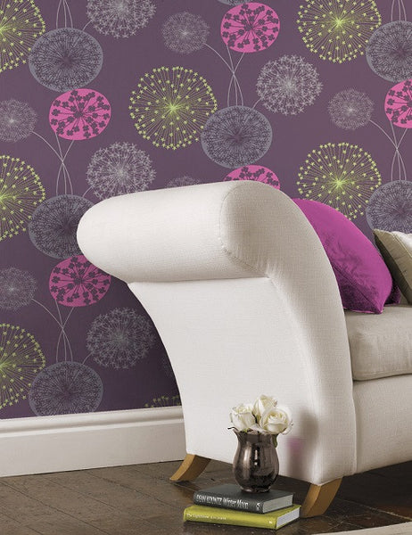 41102 Lucienne is a beautiful Purple Floral Wallpaper from Holden Decor