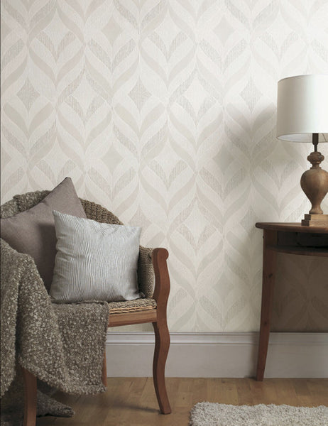 75740 Aragon is a beautiful White Geometric Blown Wallpaper from Holden Decor