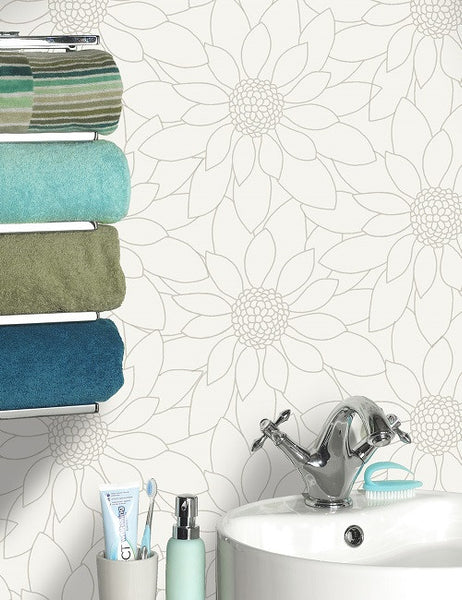 89150 Louisa is a beautiful White Tile Effect Blown Wallpaper from Holden Decor