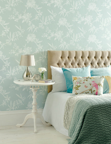 97862 Camille is a beautiful Duckegg Floral Wallpaper from Holden Decor