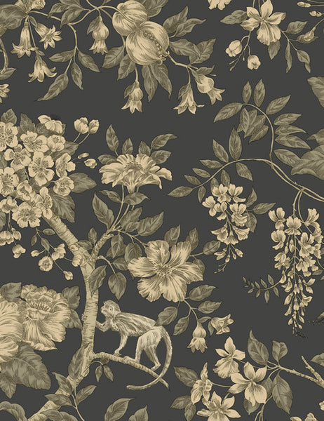 98110 Bertuccia is a beautiful Black Floral Wallpaper from Holden Decor