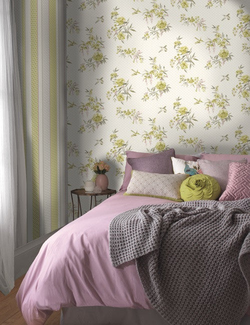 98590 Mika is a beautiful Pink / Multi Bird Wallpaper from Holden Decor