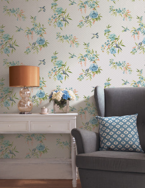 98591 Mika is a beautiful Teal / Pink Bird Wallpaper from Holden Decor