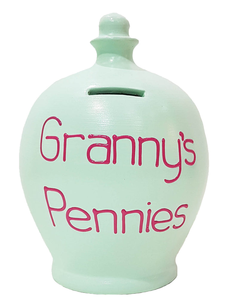 'Granny's Pennies' Money Pot Mint Green - S315