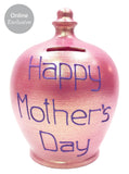 Terramundi Money Pot 'Happy Mother's Day' in purple on Twinkle Twinkle Fuscia Pink - A85S323