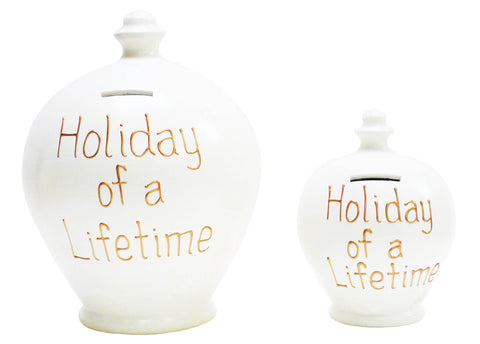 'Holiday Of A Lifetime' Deluxe Money Pot White with Gold - BP15