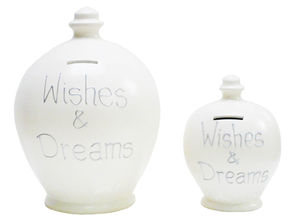 'Wishes & Dreams' Deluxe Money Pot White with Silver - BP17