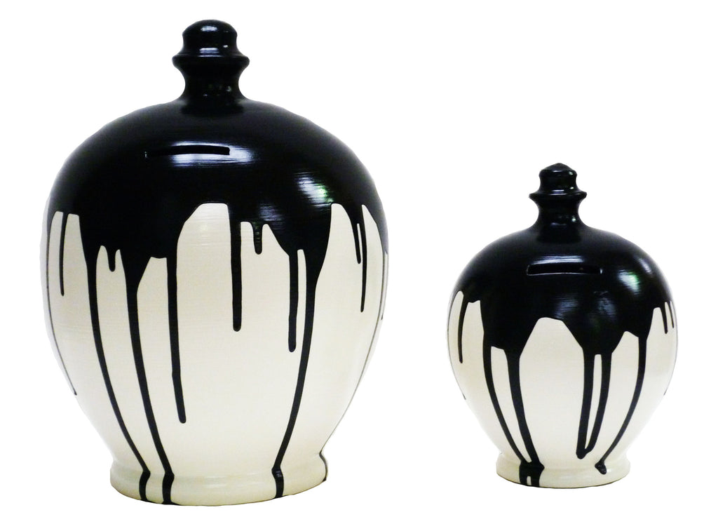 Deluxe Money Pot White with Black Drip - BP18