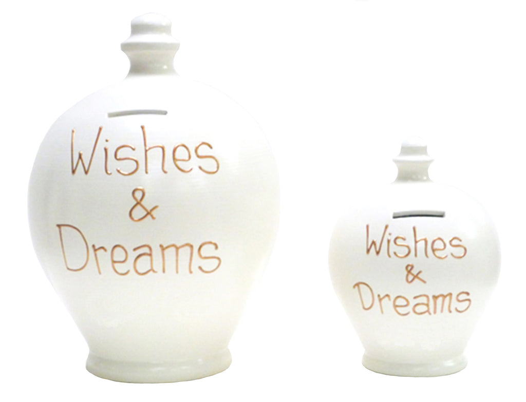 'Wishes & Dreams' Deluxe Money Pot White with Gold - BP1