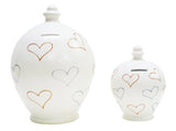 Deluxe Love Money Pot White with Silver and Gold Hearts - BP20