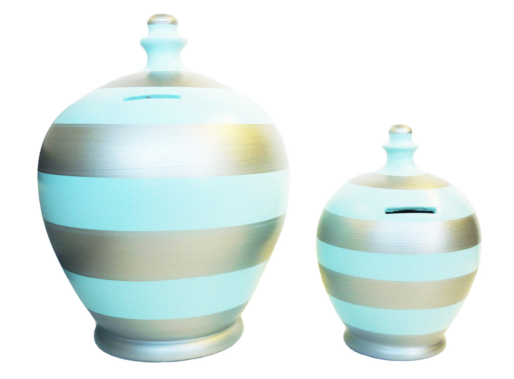 Deluxe Stripe Money Pot Baby Blue and Silver - BP33
