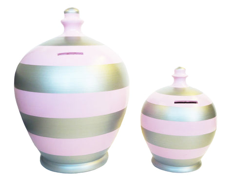 Deluxe Stripe Money Pot Pale Pink and Silver - BP34