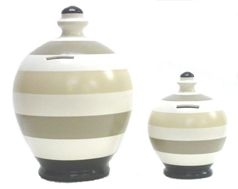 Deluxe Stripe Money Pot White with Black, Grey and Beige - BP6