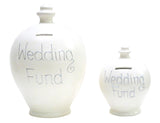 'Wedding Fund' Deluxe Money Pot White with Silver - BP8
