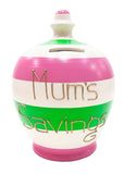Terramundi Money Pot Stripe White with Pink and Green - C80