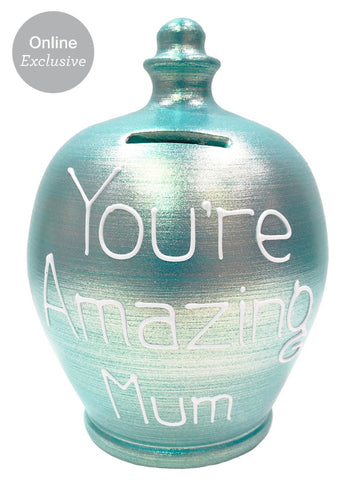 Terramundi Money Pot 'You're Amazing mum' in white on Twinkle Twinkle Aqua - D82S322