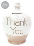 Terramundi Money Pot 'Thank You' in gold on rose gold glitter - G9S320