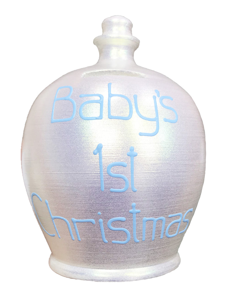Terramundi Money Pot 'Baby's 1st Christmas' EXPRESS Blue on Twinkle Twinkle Pearlescent White - EXWEC77X10
