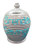 Terramundi Money Pot Stripe Light Grey and Black - B81