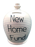 Terramundi Money Pot Stripe Light Grey and White - A89
