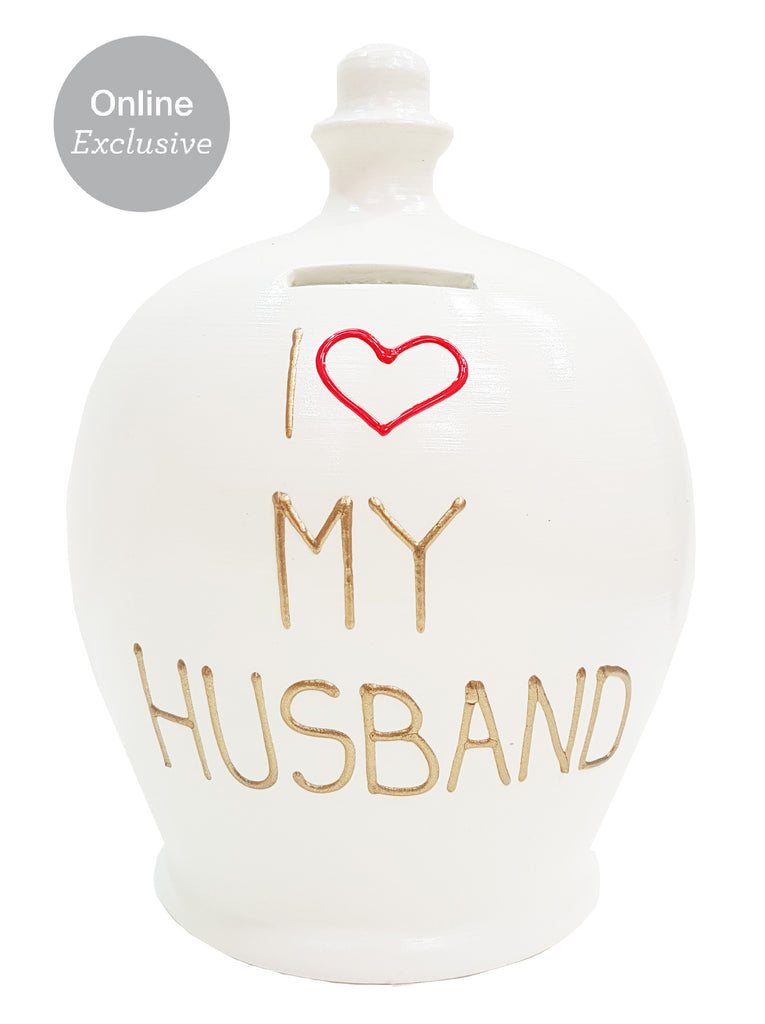 Love Money Pot White with I Heart My Husband - L38