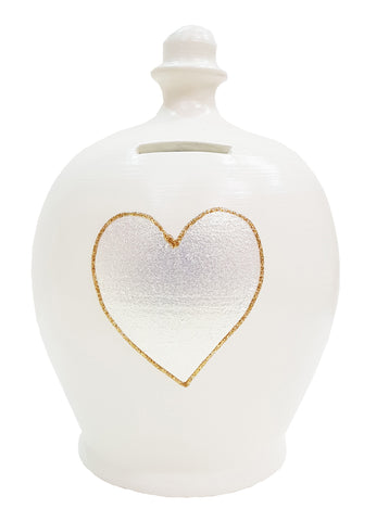 Terramundi Money Pot EXPRESS Love White with Silver Heart and Gold Glitter Outline - EXL39