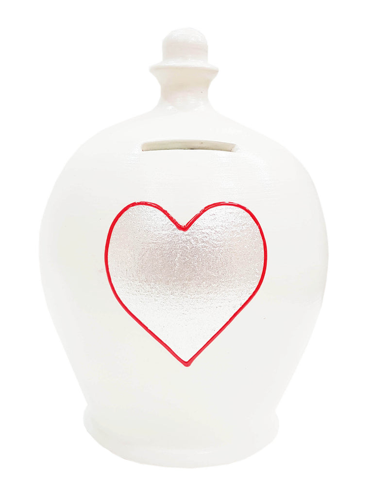 Love Money Pot White with Silver Heart and Red Outline - L41