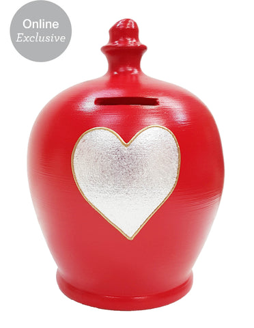 Love Money Pot Red With Silver Heart and Gold Outline - L42