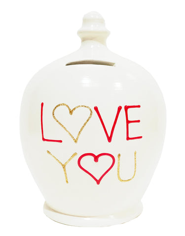 Terramundi Money Pot Love White With 'Love You' - L44