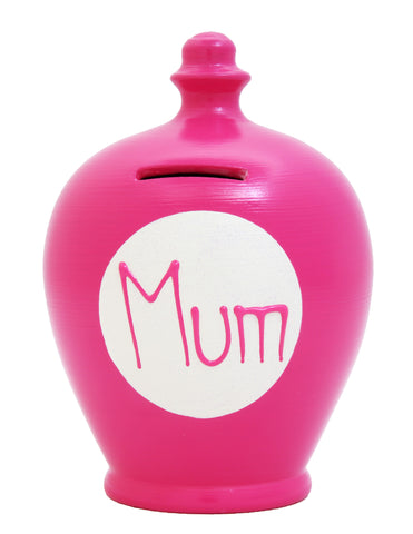 'Mum' Money Pot Fuscia Pink - M10