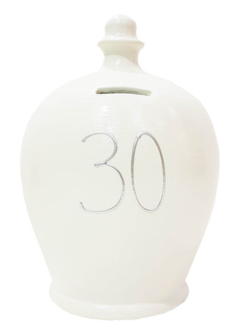 Terramundi Money Pot '30' White with Silver - S14