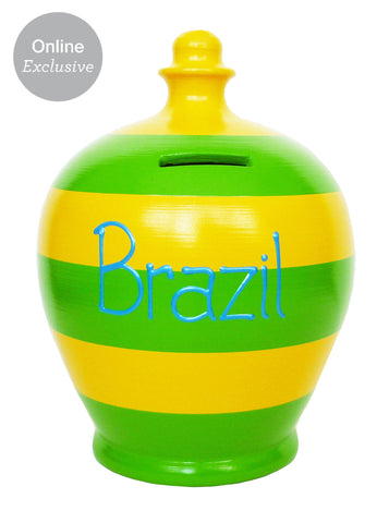 Terramundi Money Pot 'Brazil' Green And Yellow Stripes - S215