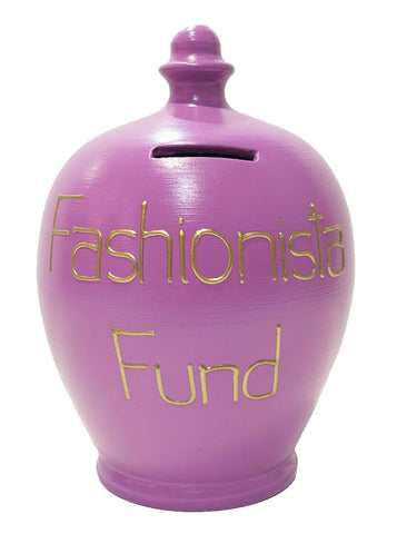 Terramundi Money Pot 'Fashionista Fund' Mauve - S309