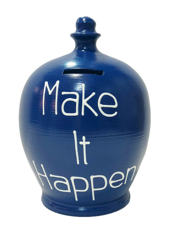 Terramundi Money Pot 'Make It Happen' Blue - S310