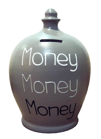 'Money Money Money' Money Pot Grey - S314