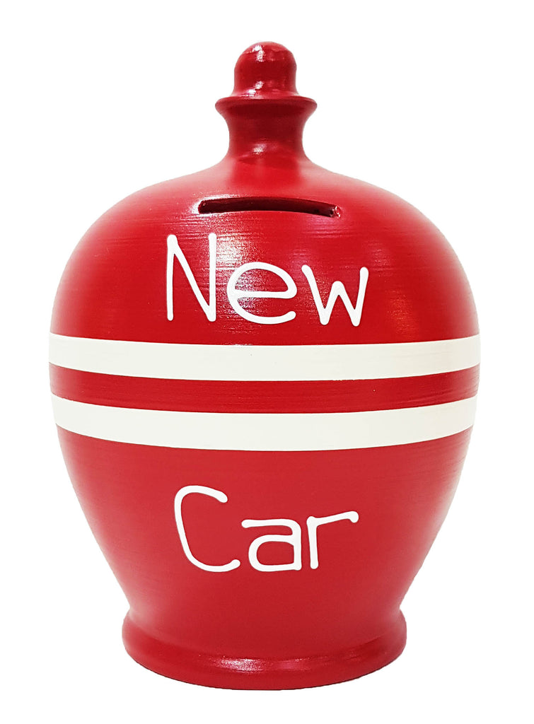 'New Car' Money Pot Red With White Stripes - S317