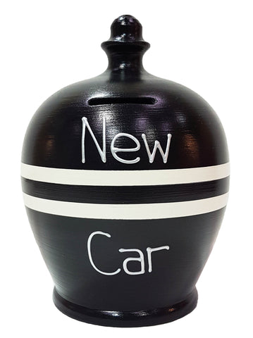 'New Car' Money Pot Black With White Stripes - S318