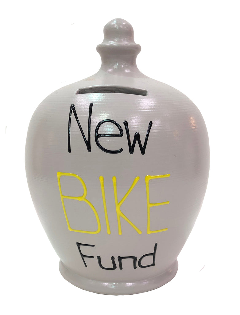 Terramundi Money Pot 'New Bike Fund' Grey Yellow and Black - S319