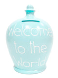 Terramundi Money Pot 'Welcome To The World' Blue - S328