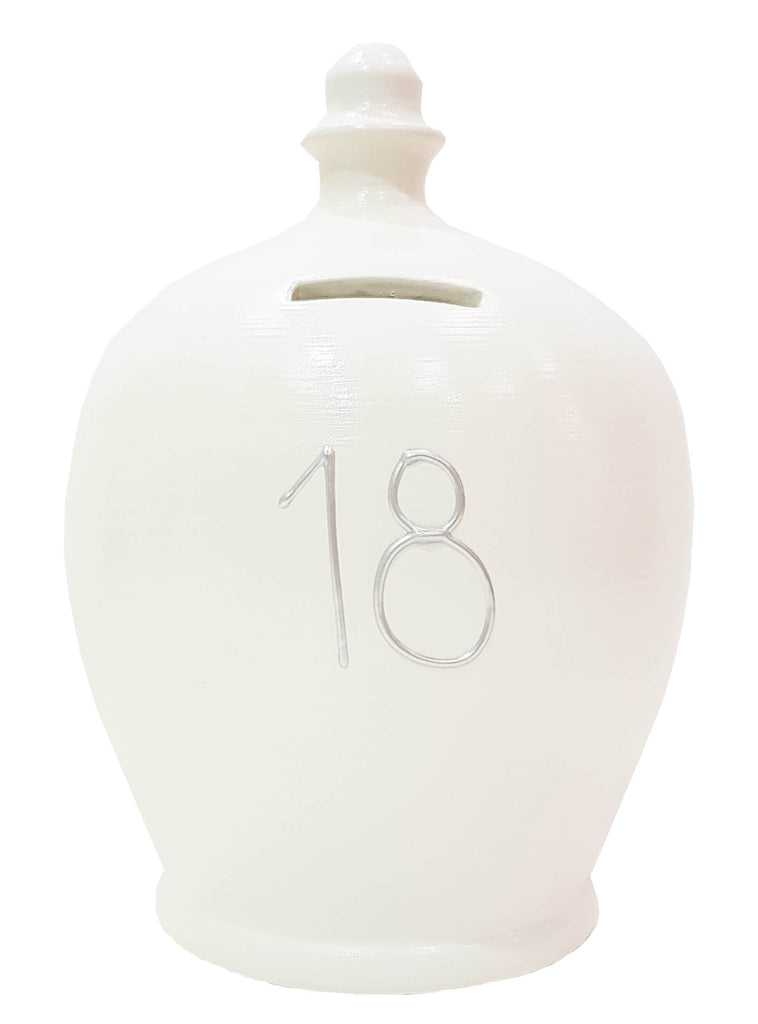 Terramundi Money Pot '18'  in White with Silver numbers - S3