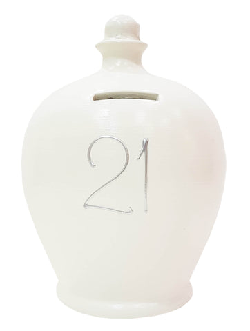Terramundi Money Pots '21' White with Silver- S8