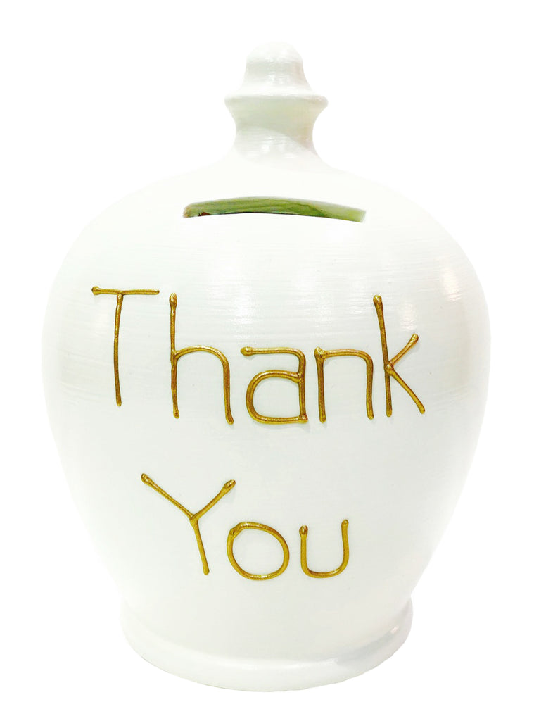 Terramundi Money Pot 'Thank You' White with gold lettering - S320