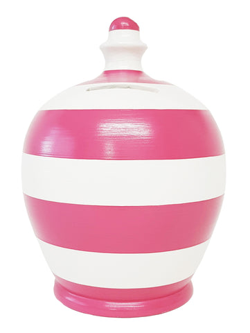Terramundi Money Pot Stripe Pink and White - A95